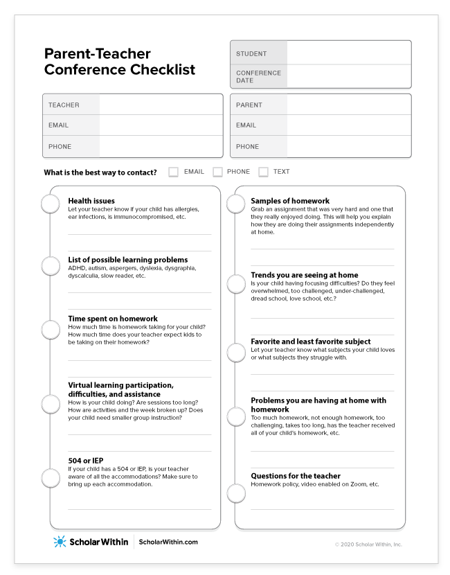 Parent-Teacher Conference Questions Checklist Form