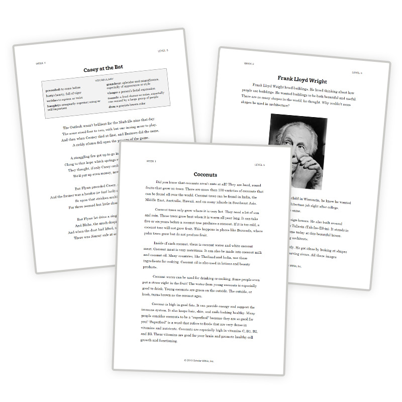 5th Grade Reading Curriculum 10-Year Old Reading Passages