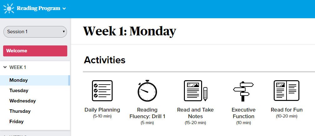 Online Reading Program Screenshot