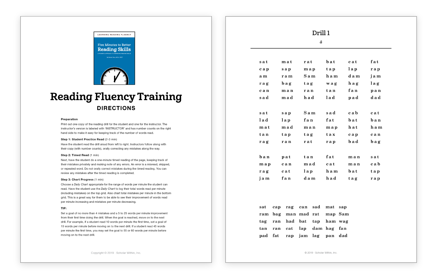 Reading Fluency Training Drill